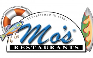 Mo's Restaurant sign with fishing lure, life preserver and surfboard