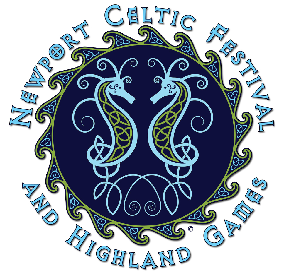 Celtic knot pattern seahorses in blue